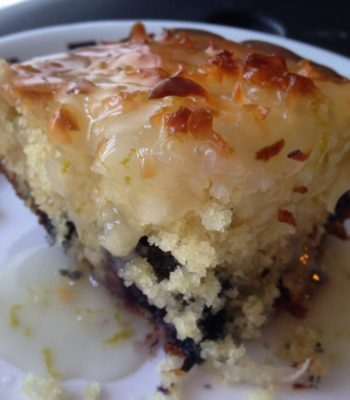 Blueberry Coconut Cake with Lime Sauce