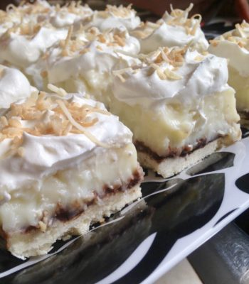Coconut Cream Pie Bars with Chocolate Ganache
